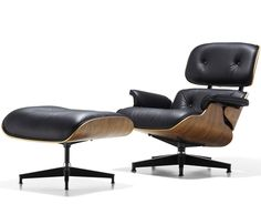 eames® lounge chair & ottoman, designed by Charles & Ray Eames, 1956. Molded plywood, aluminum, leather. Made in USA by Herman Miller®. The Eames lounge chair and ottoman is the culmination of Charles and Ray Eames' efforts to create comfortable and handsome lounge seating by using production techniques that combine technology and handcraftsmanship. Its heritage goes back to the molded plywood chairs pioneered by the Eameses in the 1940s. The Eames lounge chair and ottoman are considered…