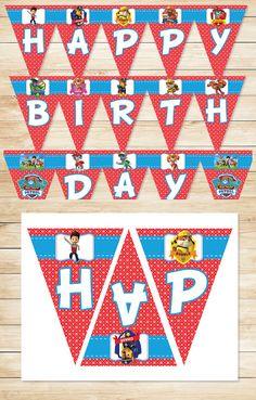 Paw Patrol Birthday Banner Red * Paw Patrol Happy Birthday Banner * Paw Patrol…