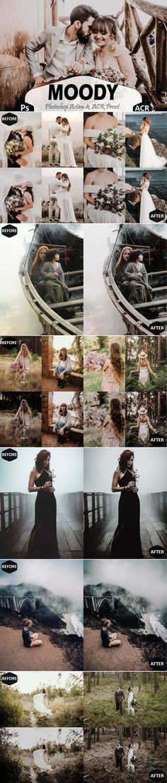 Moody Photoshop Actions And ACR Presets This set includes----- -3 Unique photoshop actions (.atn file)  These prests work on all photos well, and our team has shown you the effects of these color filters exclusively on Wedding pics, Green landscape, horror images. If you look at our comparative images you will find that in the picture after applying the presets, with more depths, sharpening, and the contrast in the darks and shadows, Pictures achieve the ultimate in beauty and charm. Photography Projects, Outdoor Photography, Best Photoshop Actions, Fashion Themes, Color Filter, Green Landscape, Instagram Influencer, Wedding Pics, Personal Photo