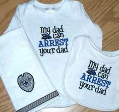 Police Officer Baby Boy Gift Set / Onesie Bib Personalized Burp Cloth
