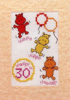 Hippos - Who really know how to celebrate. Design Area: 7 x cm Aida: White Card: Peach Cost: (Special Birthdays) Late Birthday, Teen Birthday, Birthday Woman, Special Birthday, Cross Stitch For Kids, Cross Stitch Cards, Cross Stitch Animals, Jungle Safari, Safari Animals