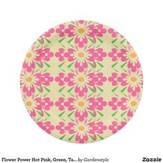 Flower Power Hot Pink Green Tan Paper Plates 7   sc 1 st  Pinterest & Green on Green Floral Paper Plate 7