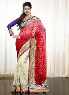 Blending Pink & Cream Faux Chiffon Saree