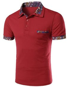 Floral Splicing Turn-down Collar Short Sleeves Polo T-Shirt For Men