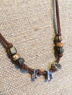 420 THC leather necklace  UNISEX hippie boho clay beads by homesteadhippie on Etsy