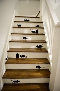 Thinking about doing a staircase remodel for your home? Here is a clever staircase idea. Check out this black mice and mouse holes painting on wooden stairs. Painted Staircases, Painted Stairs, Wooden Stairs, Staircase Painting, Wooden House, Stair Art, Stair Decor, Staircase Decoration, Diy Stair