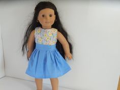 American Girl Doll Clothes Blue with Flowers Dress by something2do