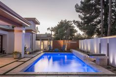 The Blue LED lights complement Pebble Sheen White Diamonds perfectly at dusk Pebble Tec Pool, Pool Finishes, Blue Led Lights, Pool Landscaping, The World's Greatest, Custom Homes, Swimming Pools, Home Improvement, Backyard