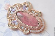 Купить Кулон с родонитом - розовый, кулон с родонитом, родонит, нежный, розовый родонит, родонит, бисер