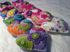 felted hearts...