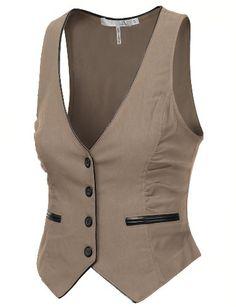 Women's Pleather Piping Button Down Vest Vest Outfits, Cute Outfits, Fashion Outfits, Womens Fashion, Chaleco Casual, Mode Glamour, Brown Vest, Vest Pattern, Dame