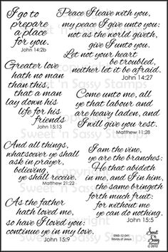 Sweet 'n Sassy Stamps LLC - Words of Jesus Clear Stamp Set, $15.00 (http://www.sweetnsassystamps.com/words-of-jesus-clear-stamp-set/)