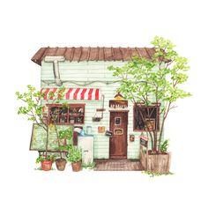 patternsandportraits:  No.77 - Hattifnatt Cafe in Kichijoji, Tokyo. Illustration by Justine Wong of Patterns and PortraitsFind me on instagram / store / portfolio