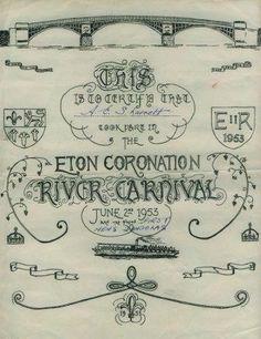 1953 Coronation River Carnival Certificate