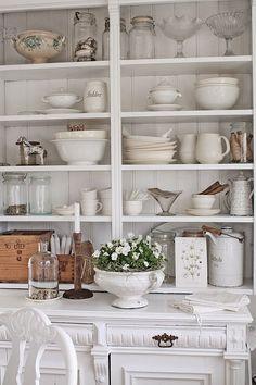 VIBEKE DESIGN   pretty kitchen shelf styling love the white on white and creamware!