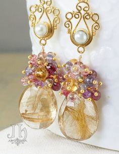 Copper Gold Rutilated Quartz by JewelleryHaven Wire Jewelry, Jewelry Crafts, Beaded Jewelry, Copper Earrings, Bead Earrings, Ideas Joyería, Rutilated Quartz, Matching Necklaces, Pink Tourmaline