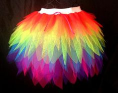 "Neon Rainbow Brite Tutu Long Length Multi Colour Tutu. ""show girl"""