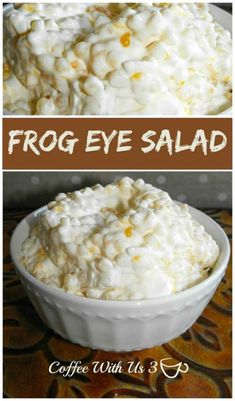 Frog Eye Salad- strange name, delicious salad. A combination of pasta salad, fruit salad, & creamy dessert! This is a favorite recipe at potlucks and BBQs.
