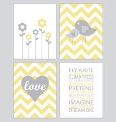Baby Girl Nursery Art - Chevron chicks - yellow and gray - set of four - 8x10 prints on Etsy, $50.00