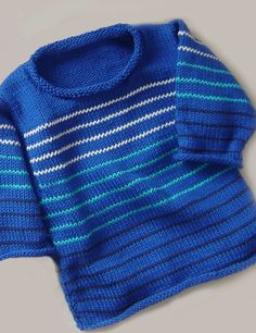 Boy's pull with narrow stripes in the colors of the sea - maddycraft.com