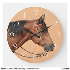 American quarter horse large clock American Quarter Horse, Large Clock, Wall Clocks, Diy Face Mask, Hand Coloring, Dog Design, Party Hats, Funny Cute, Dog Cat