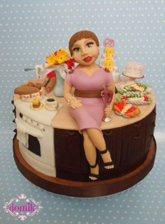 housewife in kitchen cake