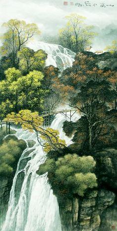 chinese waterfalls | Chinese Waterfall Painting 1135015, 66cm x 136cm(26〃 x 53〃)