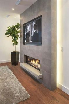 44 Trendy Living Room TV Wall Modern Fireplace, You are in the right place for home decor items When it comes to d Fireplace Tv Wall, Basement Fireplace, Fireplace Design, Fireplace Inserts, Cute Living Room, Living Room With Fireplace, New Living Room, Tv On Wall Ideas Living Room, Tv Wand Modern