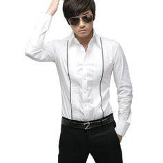 Allegra K Men Slim Fit Pleated White Tab Collar Long Sleeve Dress Shirt XXL $14.91