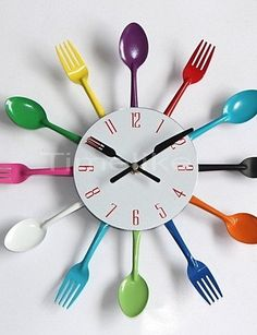 Cool Stylish Modern Design Wall Clock Colorful Kitchen Cutlery Utensil Vintage Design Wall Clock Spoon Fork Home Decor - GBP Kitchen Wall Clocks, Clock Wall, Kitchen Cutlery, Wall Clock Online, Cool Clocks, Clock Decor, Kitchen Colors, Kitchen Ideas, Wall Design