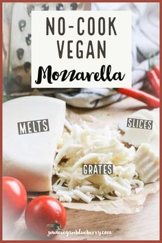 Make your own UNBELIEVABLE vegan mozzarella in a blender with this quick and easy vegan cheese recipe! It slices, melts and shreds! A Super Simple and Tasty Vegan Mozzarella Cheese that will slice, shred, melt, and blow your mind! Lait Vegan, Fromage Vegan, Vegan Foods, Vegan Dishes, Go Vegan, Vegan Desserts, Easy Vegan Cheese Recipe, Best Vegan Cheese, Vegan Cashew Cheese