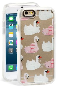 Swan and flamingo pool floaties pattern this summer-themed iPhone case. Too cute!