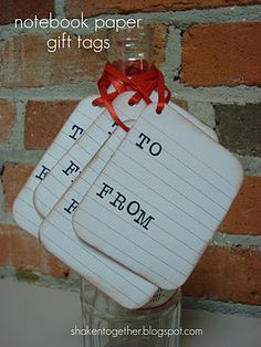 notebook paper gift tags from recipe cards by Pressed Down, Shaken Together