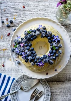Blueberry Yoghurt Cake with Cream Cheese Frosting and Crystallised Blueberries