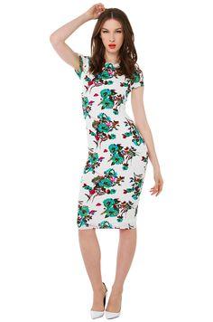 60  Sexy Ivory Teal White Floral Print Bodycon Midi Dress  735e6e7b8c3e