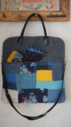 Blu totebag (블루토드백) : 네이버 블로그 Fabric Bags, Quilt Patterns, Leather Bag, Recycling, Quilts, Tote Bag, Embroidery, Japan, Crafts
