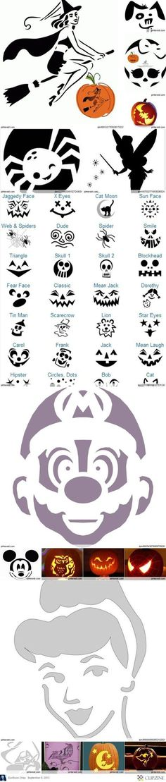 700 Free Pumpkin Carving Patterns and Printable Pumpkin Templates! - 700 Free Pumpkin Carving Patterns and Printable Pumpkin Templates! Pumpkin carving patterns for free DIY Halloween decor! Theme Halloween, Holidays Halloween, Halloween Pumpkins, Halloween Crafts, Happy Halloween, Halloween Decorations, Halloween Clothes, Halloween Patterns, Disney Halloween