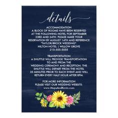 Navy Sunflower Wedding Details Card - wedding party gifts equipment accessories ideas