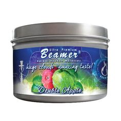 Double Apple Beamer® Ultra Premium Hookah Molasses 250 gram tin. Huge Clouds, Amazing Taste!® 100 % Tobacco, Nicotine & Tar Free but more taste than tobacco! Compares to Hookah Tobacco at a fraction of the price! GREAT TASTE, LOTS OF SMOKE & SMELLS GREAT!!! Proudly made in the USA!