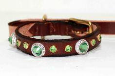 Green Swarovski Crystal Dog Collar on Brown Leather