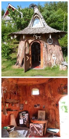 It took 22 years to carve this tiny house out of a tree, but the results are impressive: The quirky shed-size structure features handmade furniture, built-in shelves, and a cone-shaped, cedar-shingled roof sporting a dormer window and drooping copper peak.