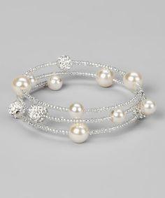 White Glass Pearl Slinky Bracelet