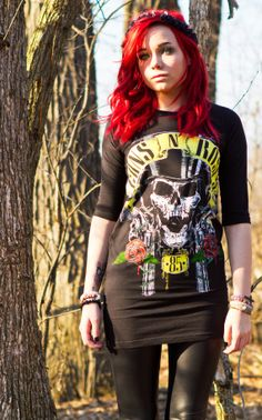 Guns N Roses Black TShirt Dress with Rib by LifeAndDeathCustoms, $44.44