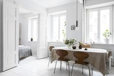 Bright white home decorated with natural tints