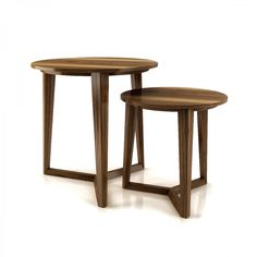Add to three legged snack table collection. UP Moment Collection in solid American walnut by Huppe, Canada. Tree Furniture, Home Office Furniture, Furniture Design, Luxury Furniture, Contemporary Side Tables, Contemporary Furniture, Furniture Manufacturers, End Tables, Coffee Tables