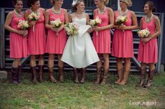 bridemaid outfit idea :: a little bit of pink, a little bit of country. these cowgirl boots were great for the backyard farm wedding!