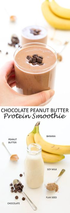 Super Rich and Creamy Chocolate Peanut Butter Protein Smoothie. Made with cocoa powder and creamy peanut butter, Healthy Protein Snacks, Protein Shake Recipes, Healthy Smoothies, Healthy Drinks, Healthy Milk, Fruit Smoothies, Pineapple Smoothies, High Protein Desserts, Making Smoothies