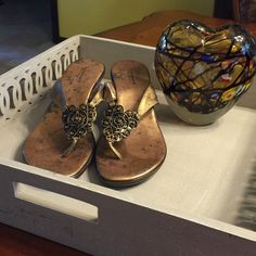 A. GIANNETTI SANDALS MADE IN ITALY NWOT. Beautiful gunmetal & gold sandals, leather uppers, balance man made. Has gorgeous citrine colored stones in an attractive setting. Very comfortable for any occasion! A. GIANNETTI Shoes Sandals