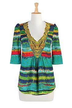 I <3 this Beaded abstract print tunic from eShakti
