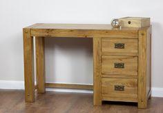 Quercus Solid Oak Furniture Range Oak Dressing Table or Small Desk Oak Furniture Land www.oakfurnitureland.co.uk